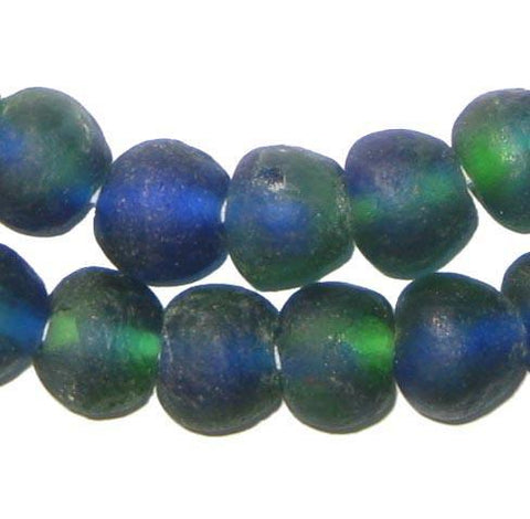 Blue Green Recycled Glass Beads (14mm) - The Bead Chest