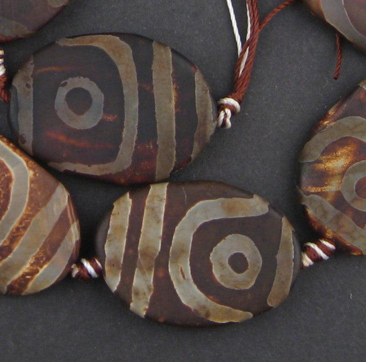 Flat-Shaped Oval Tibetan Agate Medallion Beads (35x25mm) - The Bead Chest