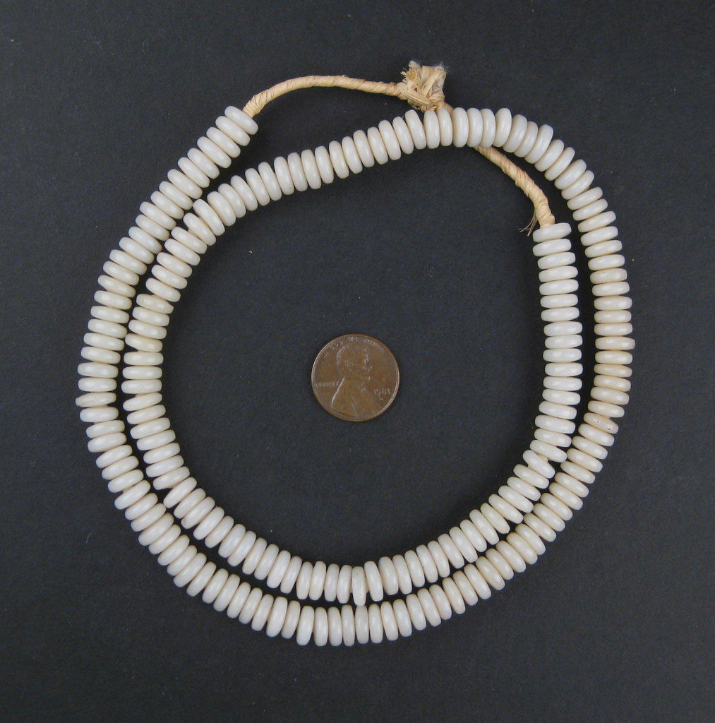 Ivory Glass Disk Beads - The Bead Chest