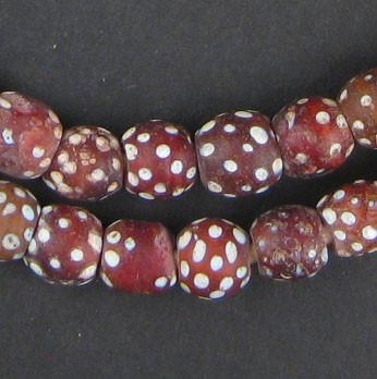 Red Antique Skunk Eye Beads (Long Strand) - The Bead Chest