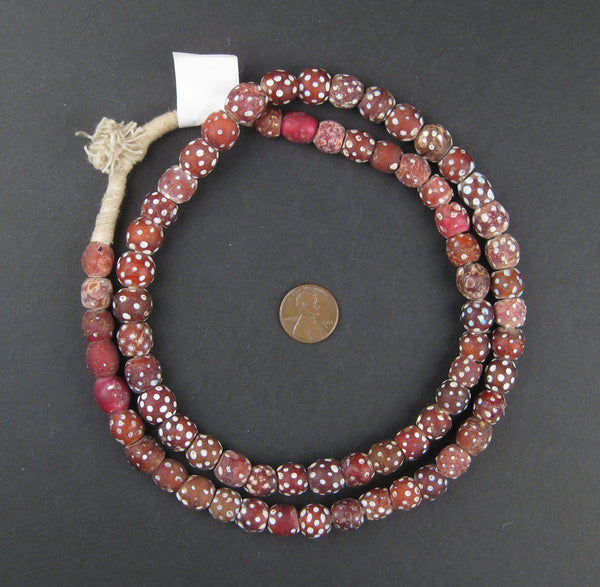 Red Antique Skunk Eye Beads (Long Strand)