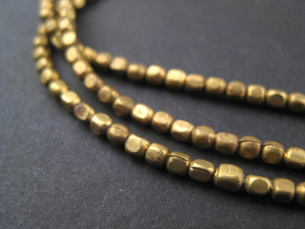 Rounded Brass Cube Beads (3x2mm)
