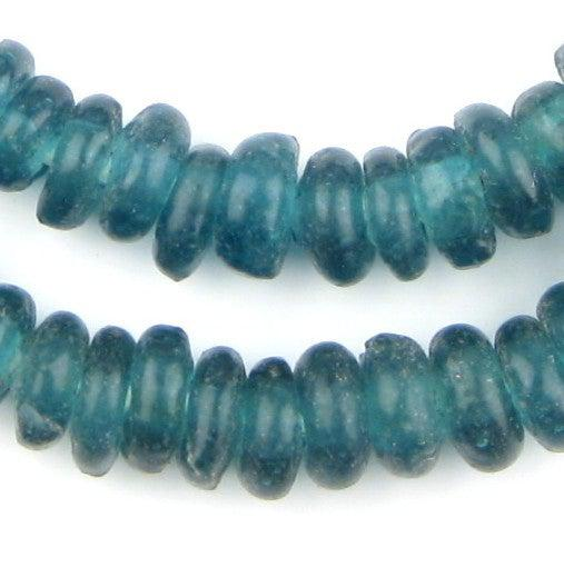 Teal Rondelle Recycled Glass Beads - The Bead Chest