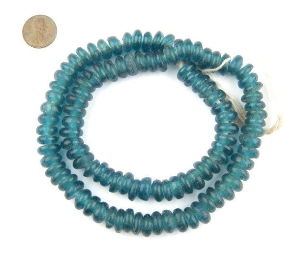 Teal Rondelle Recycled Glass Beads
