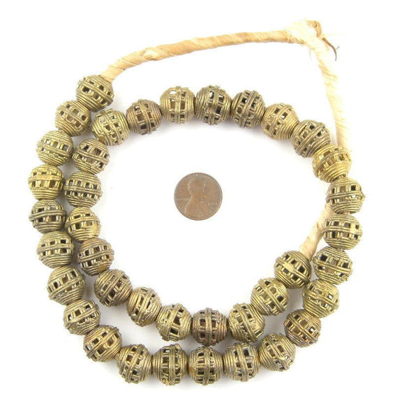 Striped Cage Brass Filligree Globe Beads (15mm)
