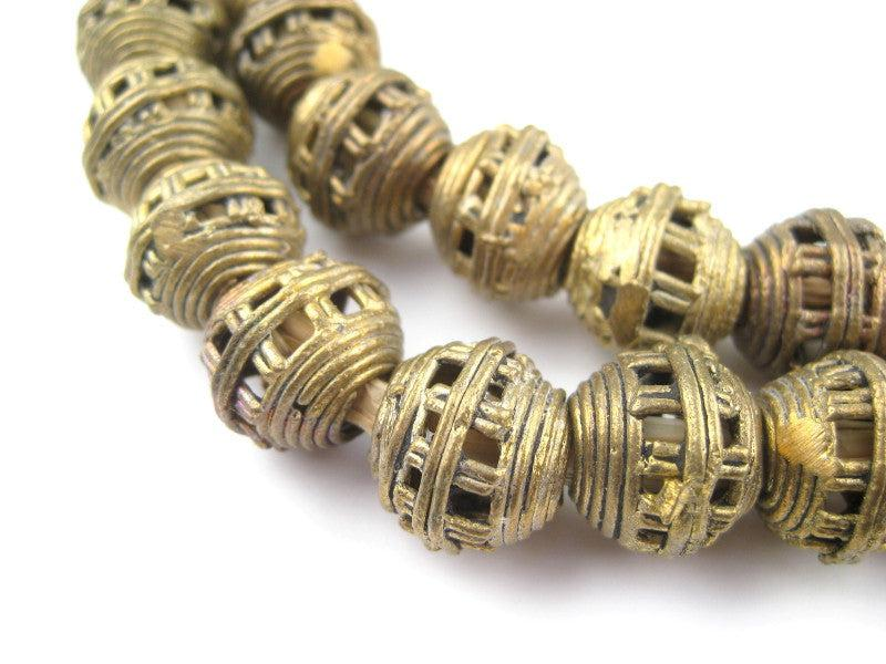 Striped Cage Brass Filigree Globe Beads (15mm) - The Bead Chest