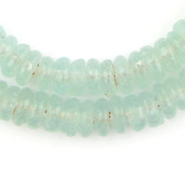 Clear Aqua Rondelle Recycled Glass Beads - The Bead Chest