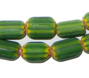Four Layer Green Chevron Beads (14x8mm) - The Bead Chest