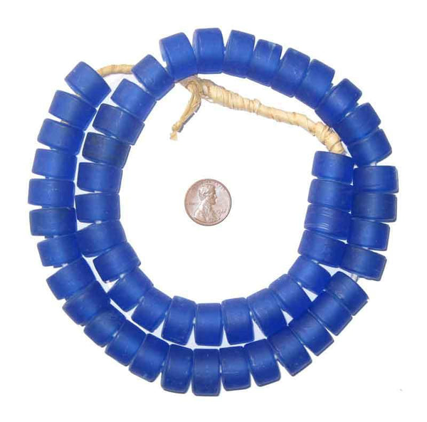 Blue Recycled Glass Beads (Tabular)