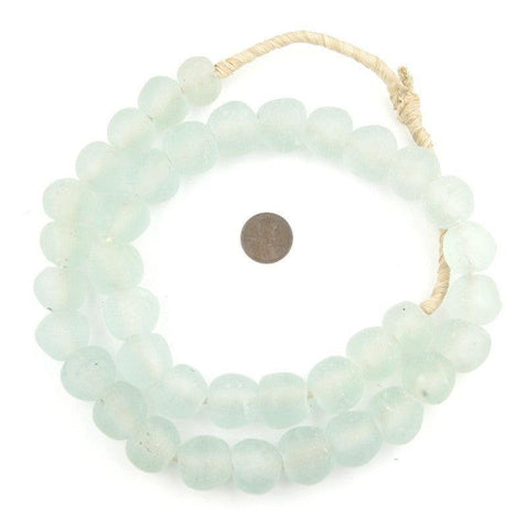 Clear Aqua Recycled Glass Beads (18mm) - The Bead Chest