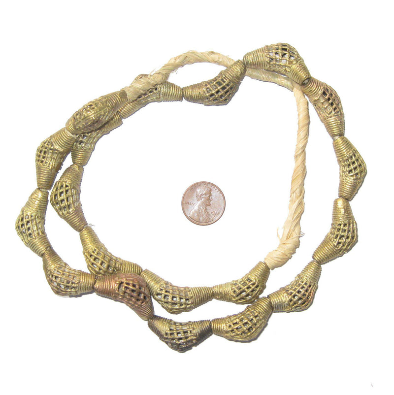 Woven Brass Filigree Elbow Beads (27x12mm) - The Bead Chest