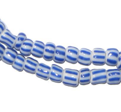 Blue & White Ghana Chevron Beads - The Bead Chest