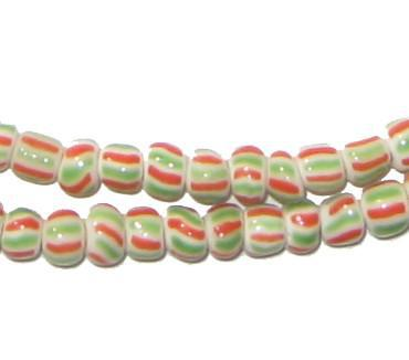 Red & Green Ghana Chevron Beads - The Bead Chest