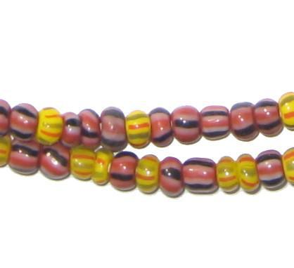 Yellow & Brown Mixed Ghana Chevron Beads - The Bead Chest