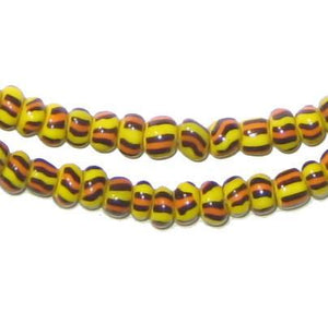Orange & Yellow Ghana Chevron Beads - The Bead Chest