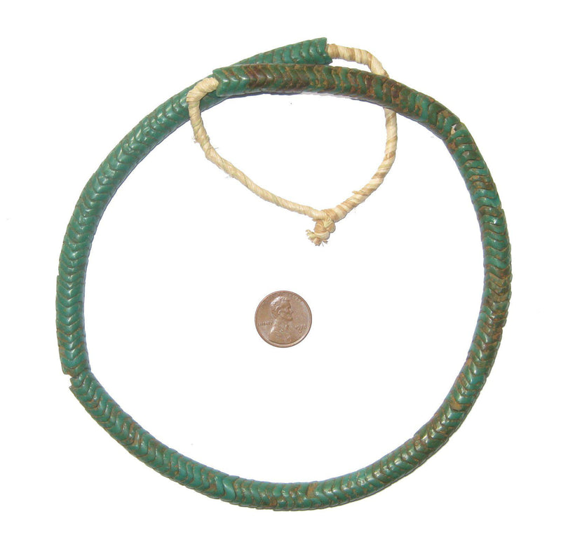 Glass Snake Beads, Green Color - The Bead Chest