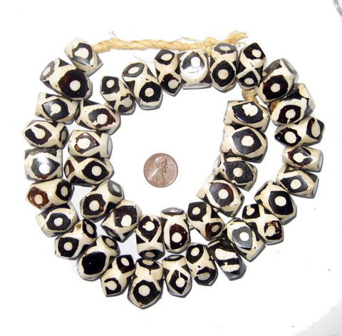 Eye Batik Bone Beads (Faceted) - The Bead Chest