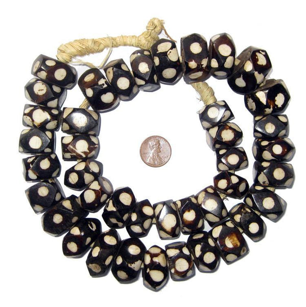 Faceted Polka Dot Batik Bone Beads (Large)