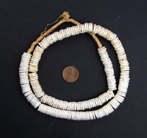 Ostrich Egg Shell Heishi, African Trade Beads - The Bead Chest