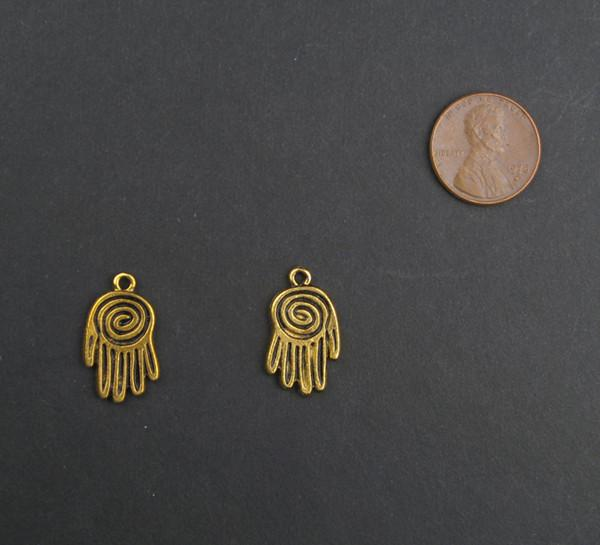 Mini Brass Hamsa Pendant (Set of 2) - The Bead Chest