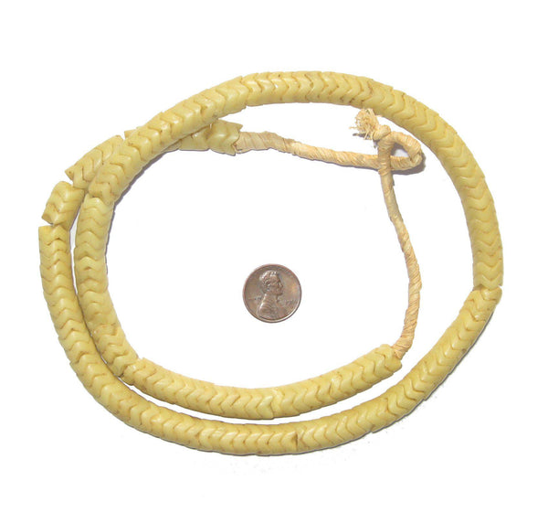 Glass Snake Beads, Light Yellow (Large)