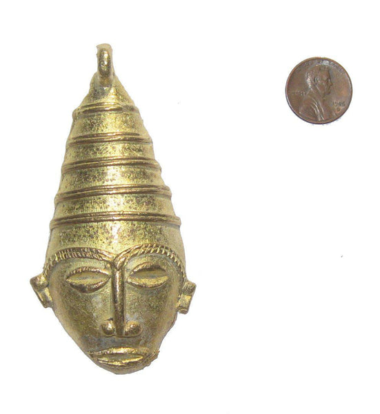 Traditional Mask Brass Pendant from Africa (Large)