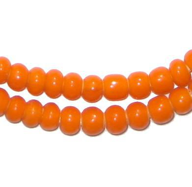 Orange White Heart Beads (6mm) - The Bead Chest