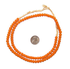 Orange White Heart Beads (6mm)
