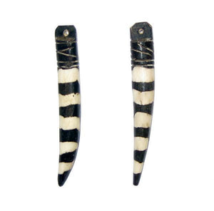 Zebra Batik Bone Tooth Pendant (Set of 2) - The Bead Chest