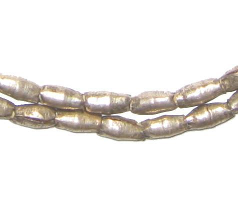 Folded White Metal Plate Ethiopian Metal Beads (11x5mm) - The Bead Chest