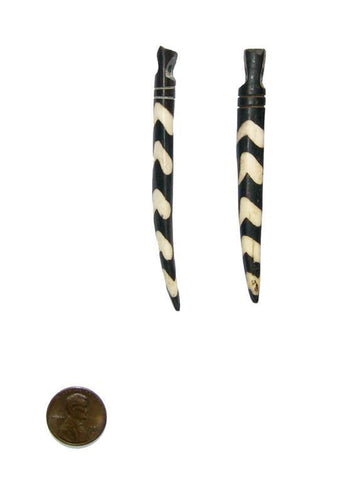 Batik Bone Tooth Pendant - Delta Design (Set of 2) - The Bead Chest
