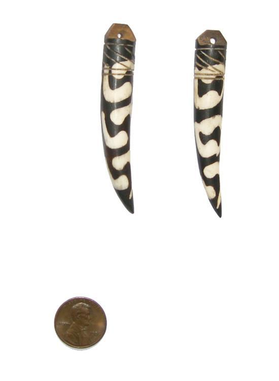 Traditional Batik Bone Tooth Pendant (Set of 2) - The Bead Chest