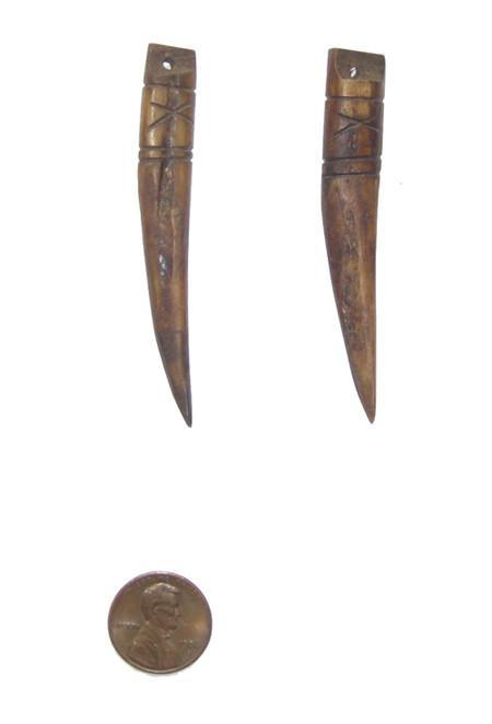 Brown Kenya Bone Tooth Pendant (Set of 2) - The Bead Chest