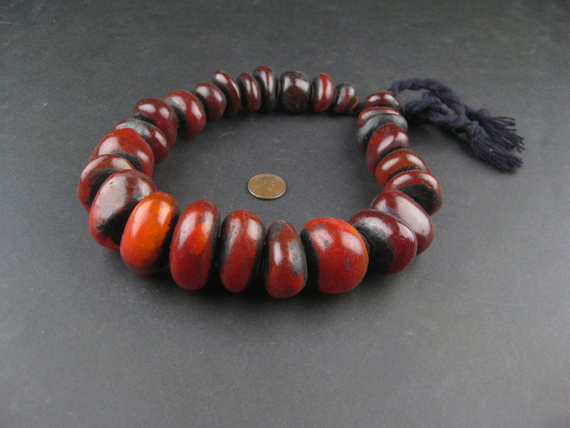Moroccan Translucent Red Amber Resin Beads (Graduated) - The Bead Chest