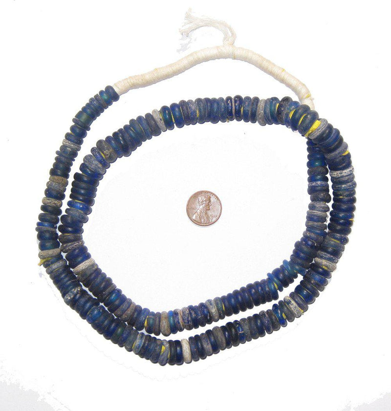 Blue Old Annular Wound Dogon Beads - The Bead Chest