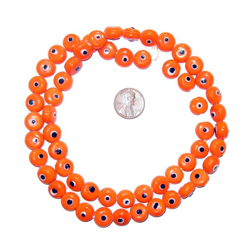 Orange Evil Eye Beads - The Bead Chest
