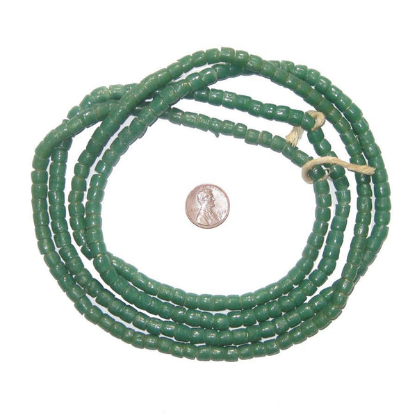 Dark Green Sandcast Cylinder Beads