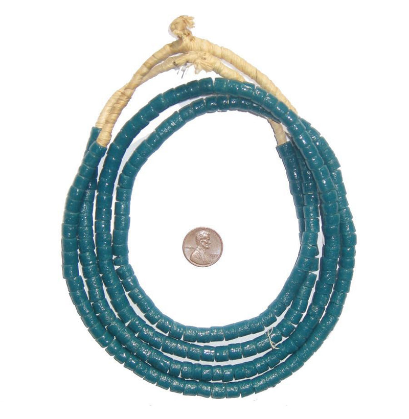 Teal Sandcast Cylinder Beads - The Bead Chest