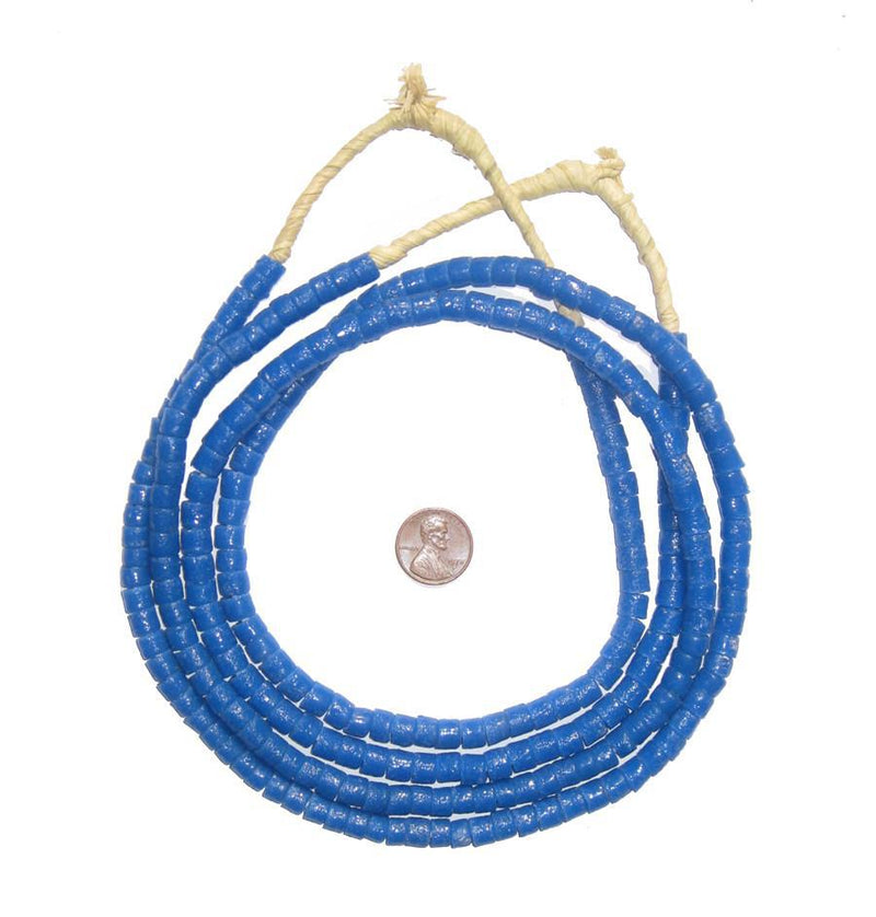 Ocean Blue Sandcast Cylinder Beads - The Bead Chest