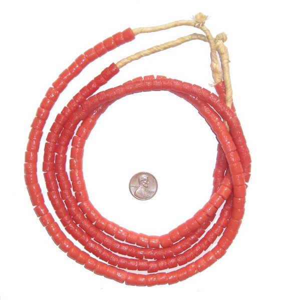 Coral Color Sandcast Cylinder Beads