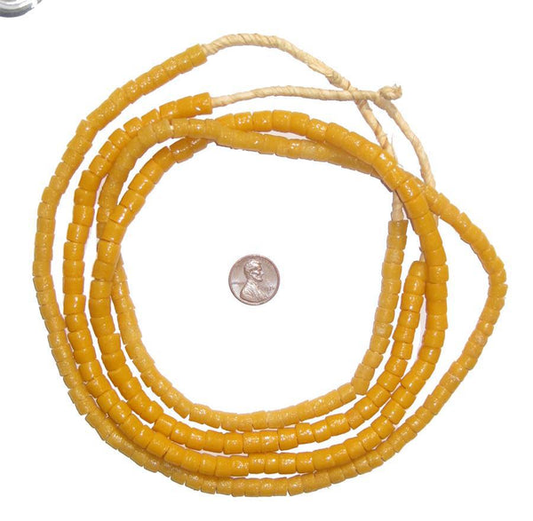 Amber Color Sandcast Cylinder Beads - The Bead Chest