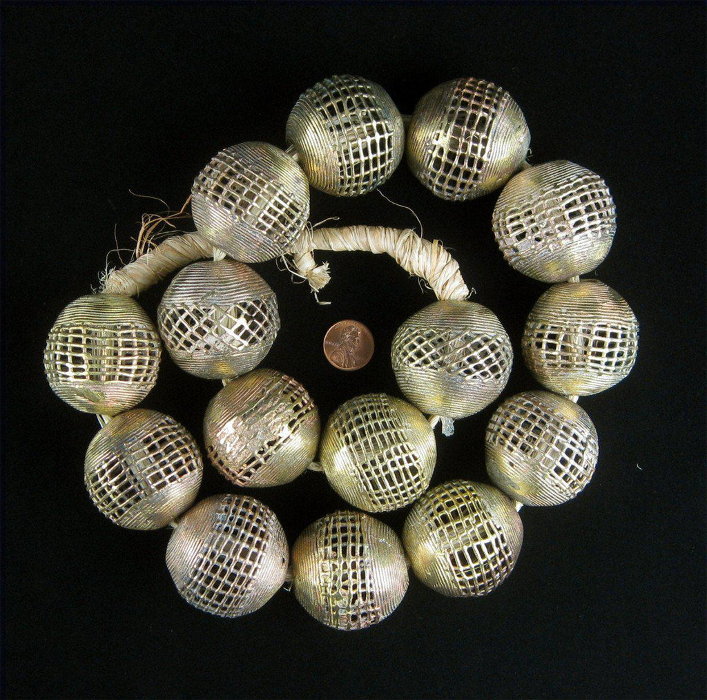 Extra Large Brass Filigree Globe Beads - The Bead Chest