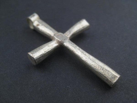 Image of Ethiopian White Metal Cross Pendant (60x30mm) - The Bead Chest