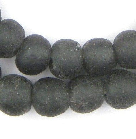 Charcoal Black Recycled Glass Beads (14mm)