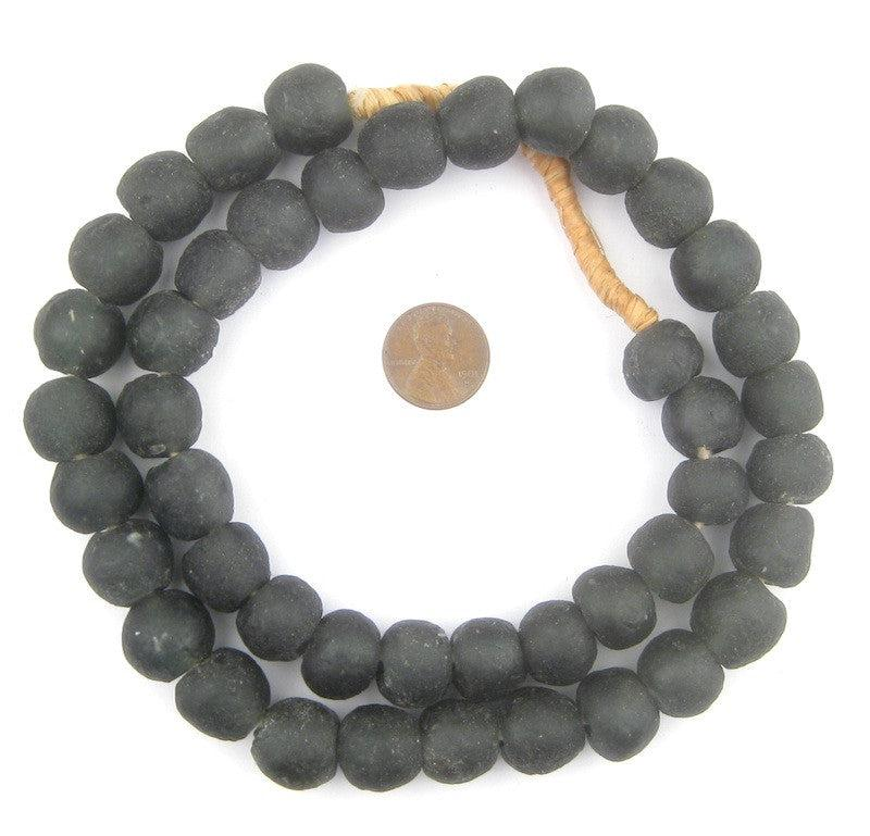 Charcoal Black Recycled Glass Beads (14mm) - The Bead Chest