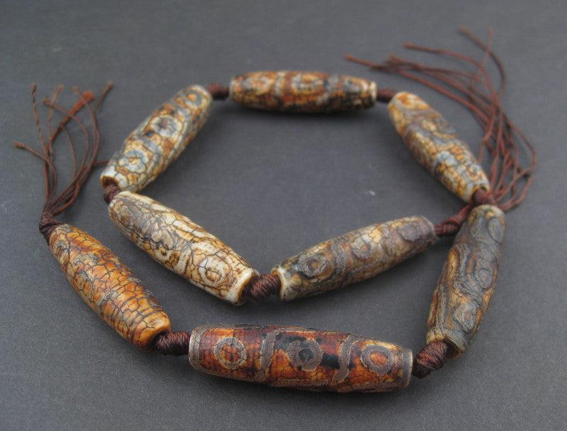 Elongated Antiqued Tibetan Agate Beads (40x11mm) - The Bead Chest