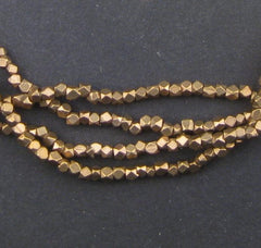 Tiny Diamond Cut Faceted Brass Beads (2mm)