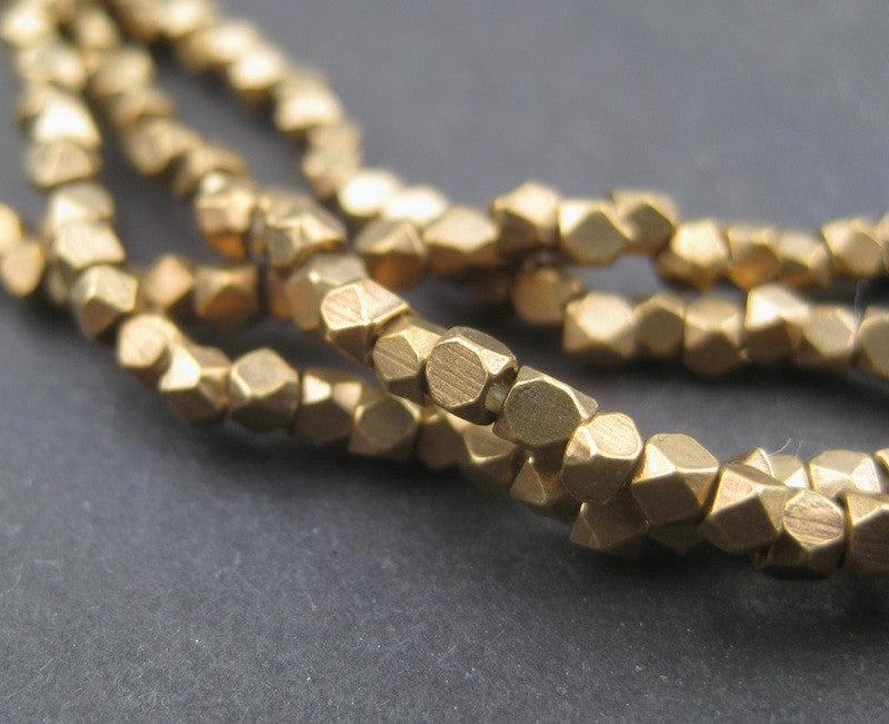 Tiny Diamond Cut Faceted Antiqued Brass Beads (2mm) - The Bead Chest