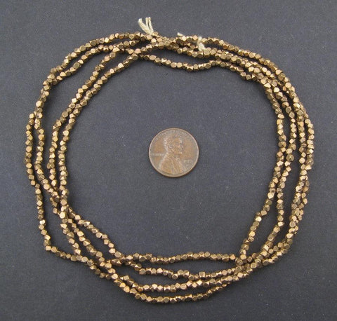 Image of Tiny Diamond Cut Faceted Antiqued Brass Beads (2mm) - The Bead Chest