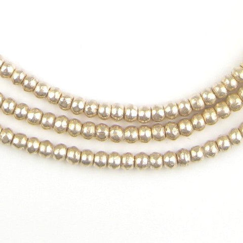 Round White Metal Ethiopian Beads (3mm) - The Bead Chest